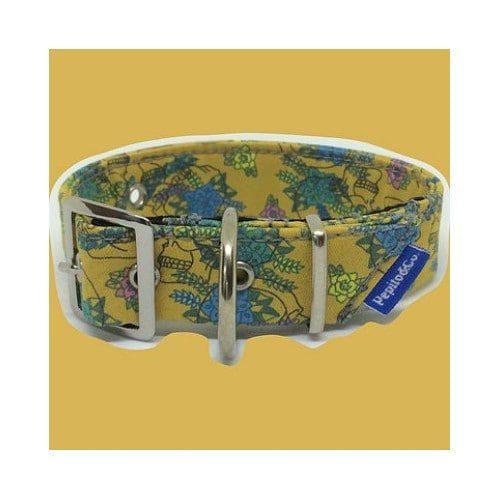 Halsbånd i gult og blåt
