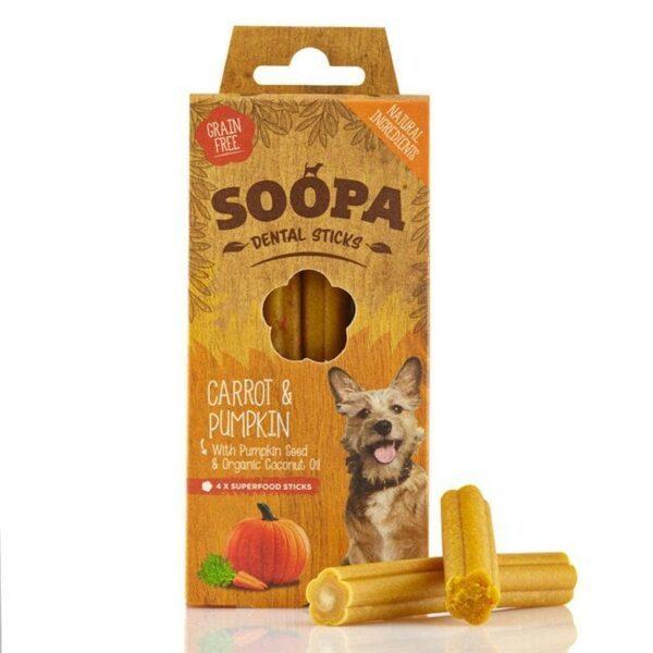 Vegetarisk godbidder til hunde, dental sticks, gulerod og græskar, Soopa Bites