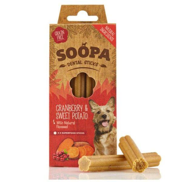 Vegetarisk godbidder til hunde, dental sticks, tranebær og søde kartofler, Soopa Bites