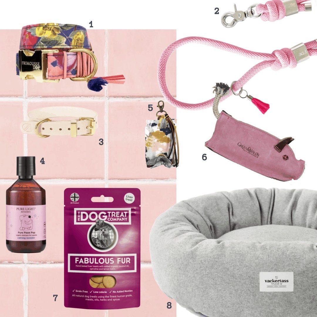 Alt i lyserødt til din hund: halsbånd, seler, liner, shampoo, godbidder og legetøj
