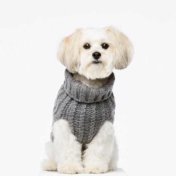Smuk grå sweater i cashmere og merionould til din firbenede ven