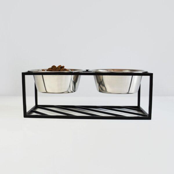 foder og vandskål i stål med metalramme